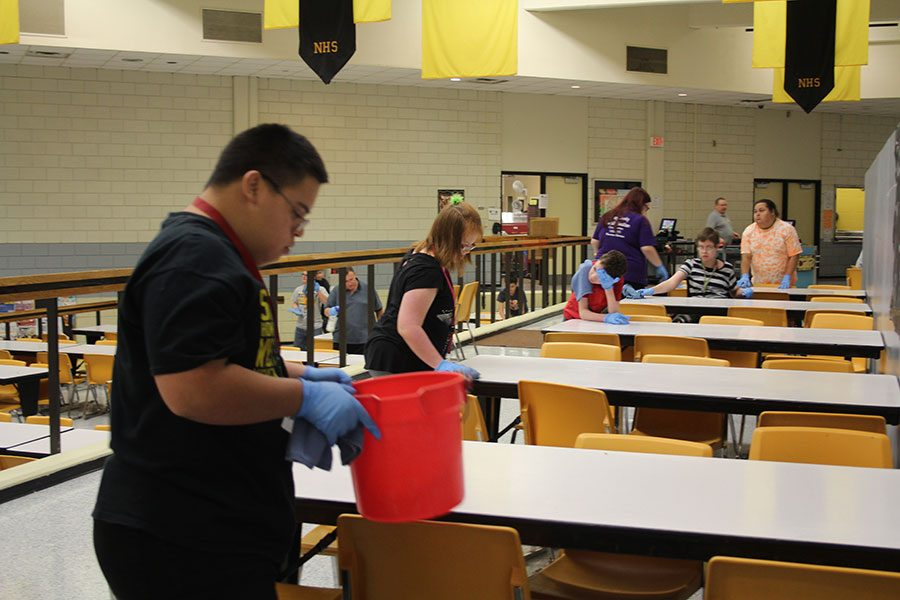 "The students were cleaning the lunchroom on Oct. 11, ""We do the lunch tables everyday and the recycling bins on Fridays. Except cans and some of the plastic, we pick up on a daily basis just because of the flies and bugs,"" Bright said."