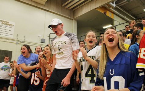 Seniors cheer out at the end of the boys Sub-state game.