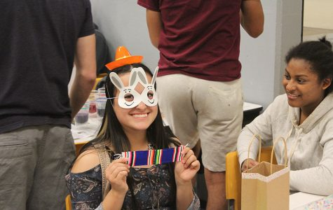 Junior Keila Chavez poses with her sombrero hat and bunny mask. Spanish club did Easter activities during their meeting.