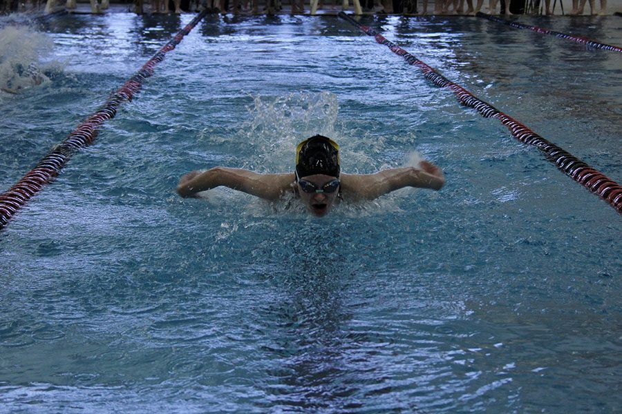 Swimming+in+the+100+fly+freshman+Jaden+Anton+performs+the+butterfly+stroke.+