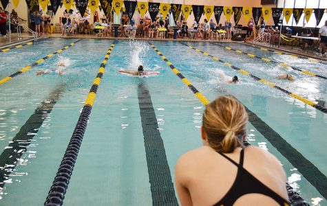 Junior Erica Beebe cheers on senior Kara Peaney,while she swims the 100 yard Butterfly at the Northwest Invitational on April 8. The Lady Railer swim team finished 4th out of 20 teams.
