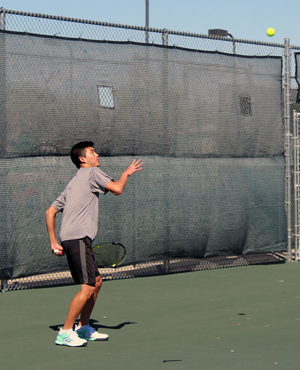 Junior+Jason+Wong+prepares+his+serve+to+his+opponents.+The+Railers+took+second+at+their+first+home+invitational.
