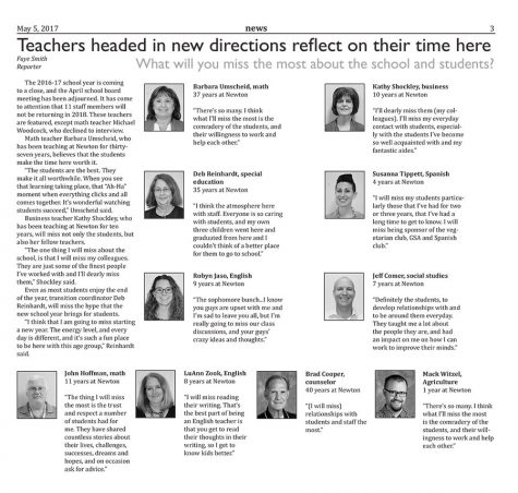 Teachers headed in new directions reflect on their time here