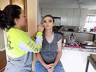To achieve the prom look senior Emily Terbovich settles in as her aunt Danielle Pierce finishes up her makeup. Terbovich loved her makeup when it was finished.