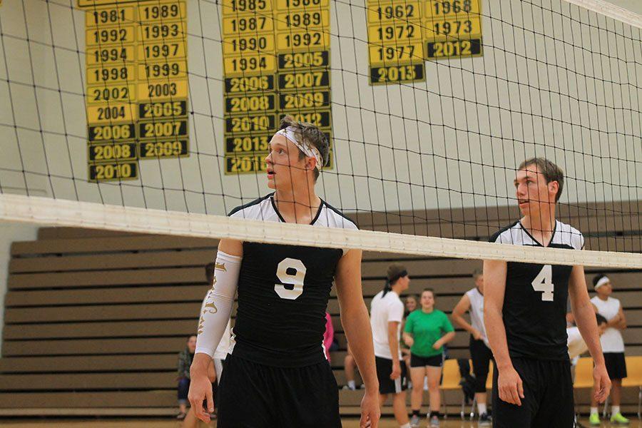 Seniors Warren Dietz and Henry Freisen - Guhr look out for the serve.
