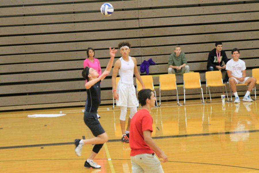 Sophomore Austin Wondra goes up for a jump serve.