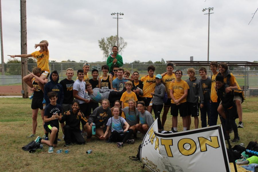 The cross country team poses for a picture after the regional meet is concluded.