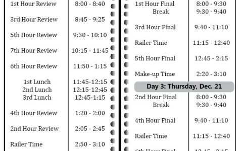 New three-day finals schedule approved