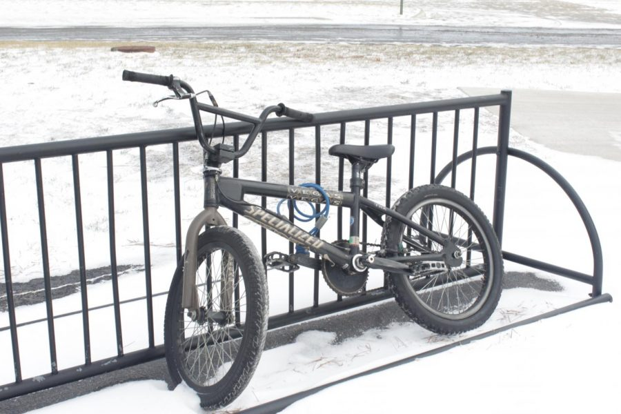 The bike rack which is typically full houses only one  on Jan. 11. Students either opted for rides or stayed home altogether to avoid the road and weather conditions.