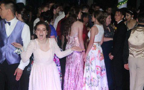 Senior Magdalene Tyner dances at Prom.