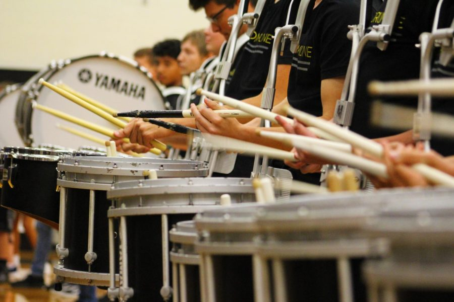 NHS Drumline at Hoco Pep Rally.