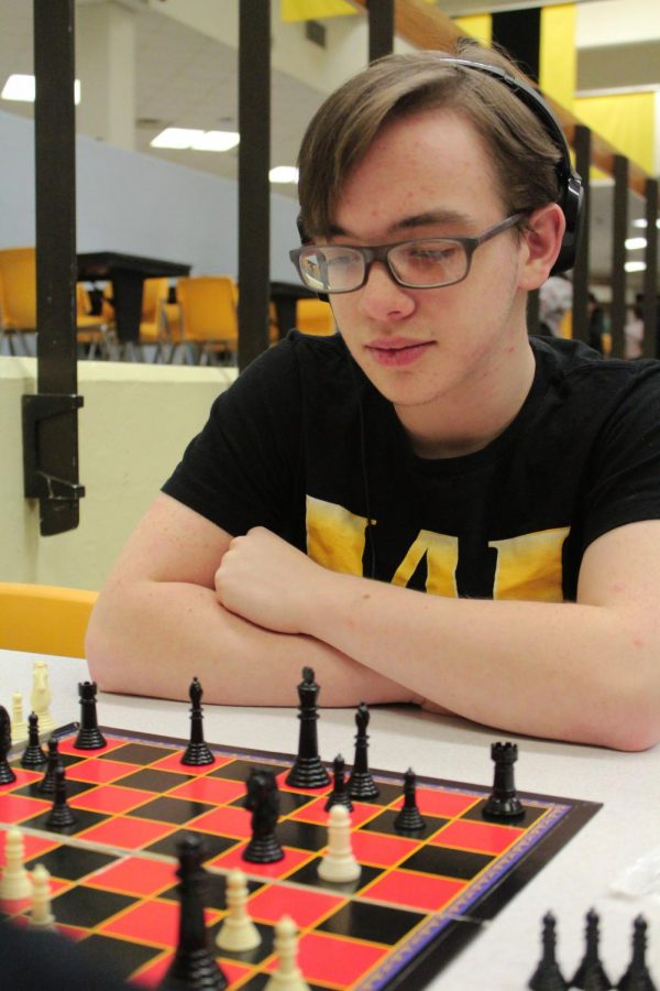 Junior Ash Gibson watches his enemy in hope to defeat them.