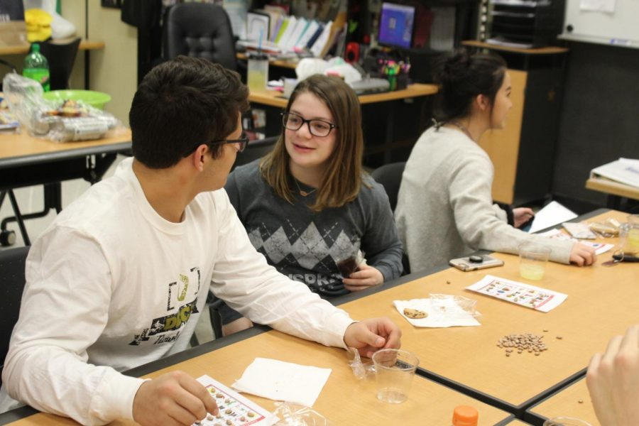 Senior Matthew Seirer and junior Becca Meyer talk as junior Taylor Tasaka waits for another card to be called in DECA club.