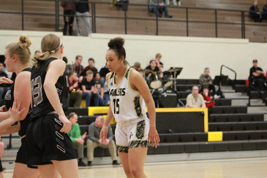 Senior DesiRay Kernal gets ready for the ball to passed in.