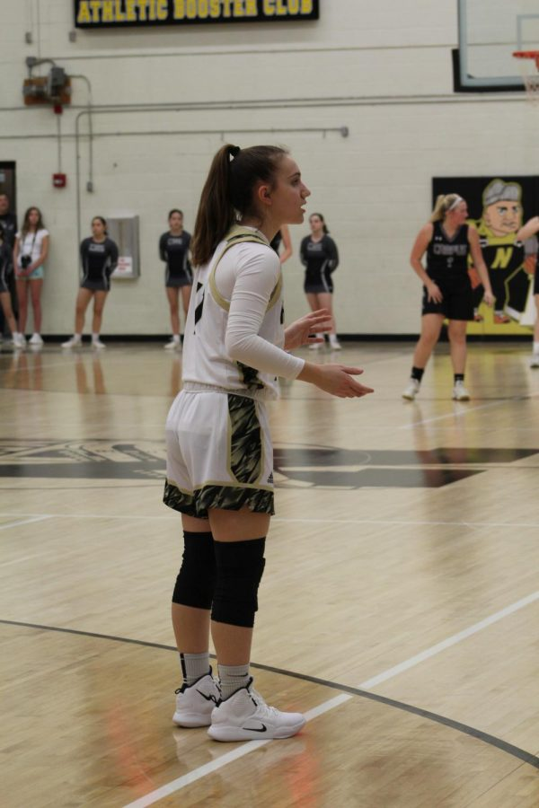 Senior Megan Bartel waits for the ball to be passed in.