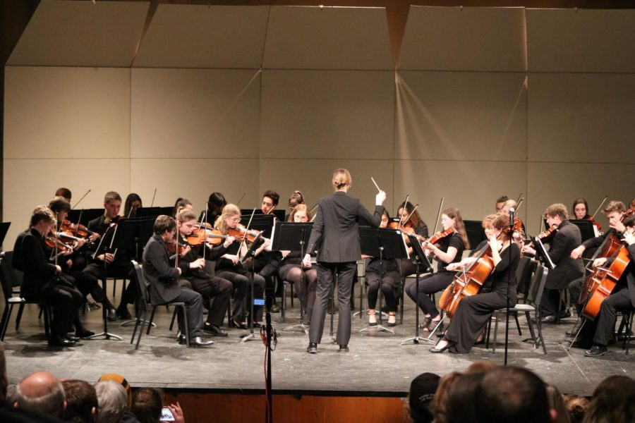 The orchestra performs