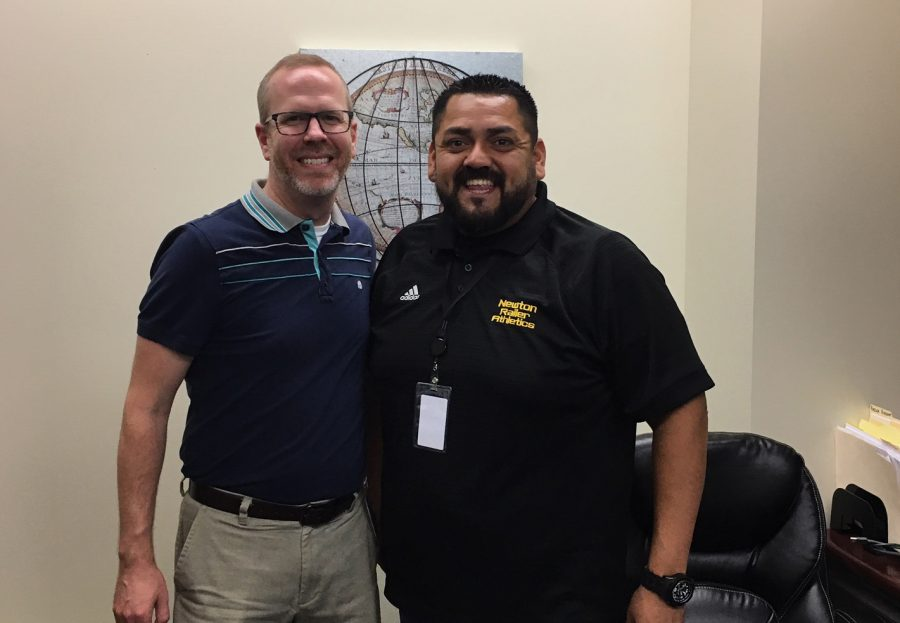 Assistant principals Blake Smith and Everardo Flores pose together in Flores' office.