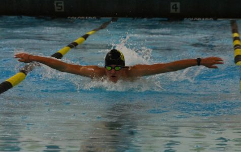 Junior Max Musser does the butterfly stroke in the 200 Yard Medley Relay.