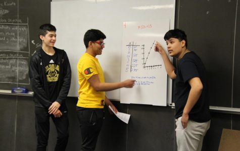 Freshmen Ashton Castro, Rayly Aramburu and Oscar Pimentel-Rodriguez present their graph to the class.