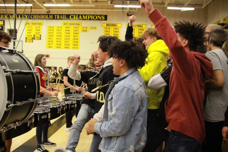 Students+dance+along+to+the+drumline+during+the+last+song.