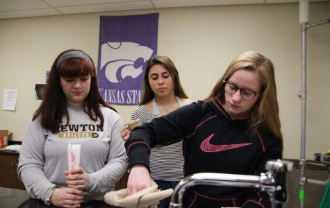 Sophomores Noelle Buentello, Jacey Yager and Tabitha Buffalo work together to build their egg casket.