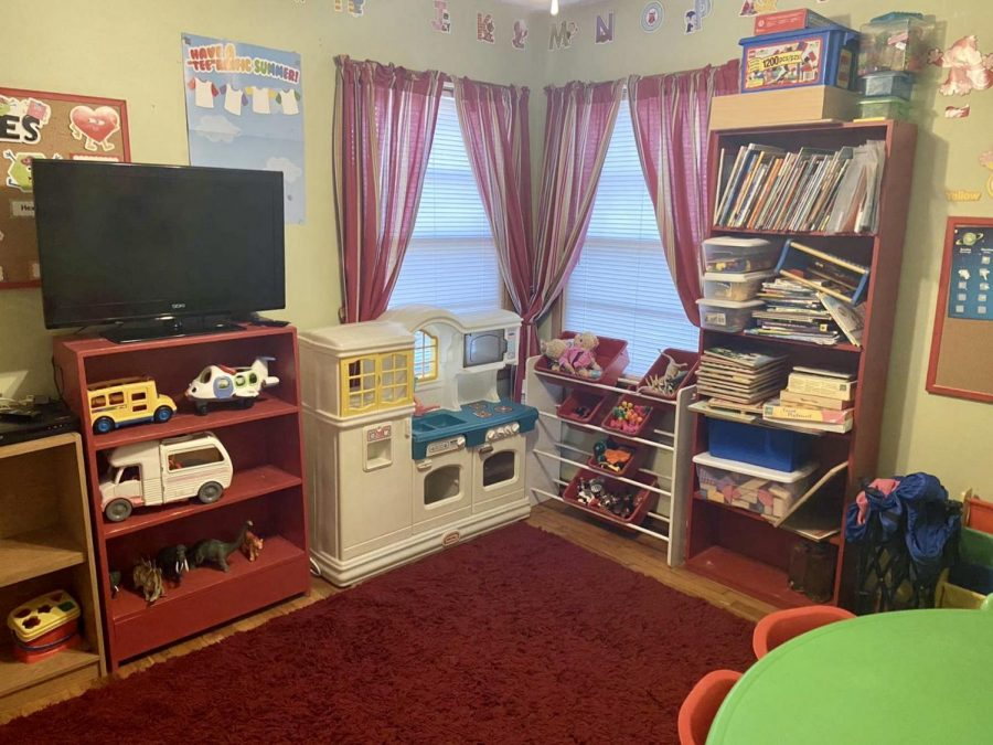 In an organized fashion, the Mathies' toy room sit unattended after a day of providing entertainment to daycare clients. Mathies' mother has rotated and clean toys in light of the pandemic.