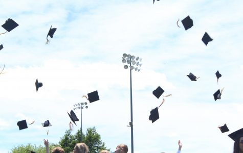 As part of the tradition, the class of 2019 throws their caps and tassels into the air at the close of the ceremony.