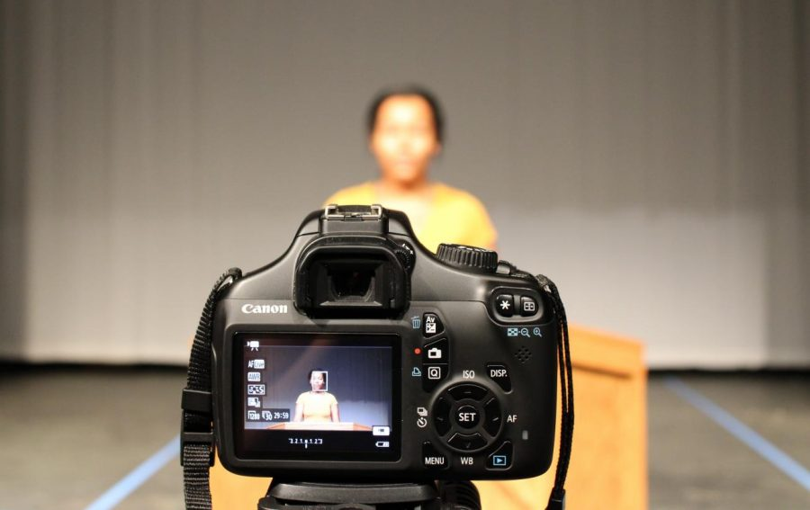 Senior Enyisha Peterson faces the camera while giving her candidate speech on Sept. 15.  Candidate speeches were prerecorded in order to abide by social distancing guidelines.