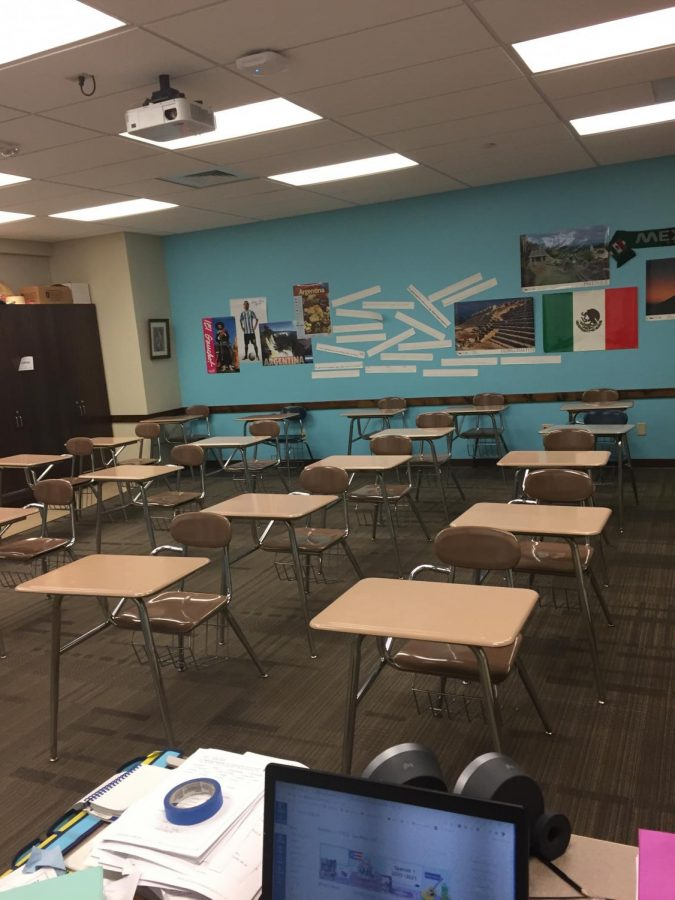 Cheryl Loeffler's classroom remains empty during the week of Oct.19 while USD 373 partakes in the orange mode of learning.