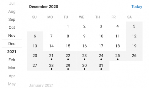 The shaded days represent days off from school and the days with dots on them represent the days of winter break for 2020.