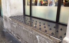 Spikes were put here to prevent people from sleeping outside of businesses.