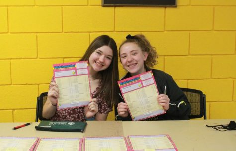 Freshman Abby Koontz and Brooklynn Black pose with the results of the Matchomatics fundraiser on Mar. 9.