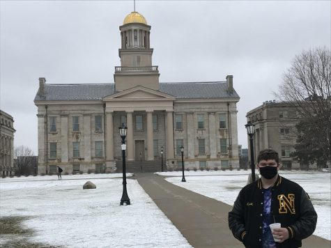 Senior Elijah Redington poses for  quick photo while visiting the University of Iowa.