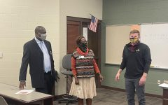 Terrell Davis and Phyllis Cottner from Data Driven Education are introduced by Vice Principal and Career and Technical Education (CTE) Director Ben Reed. Photo Courtesy.