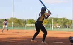 Sophomore Tegan Livesay prepares to swing her bat.
