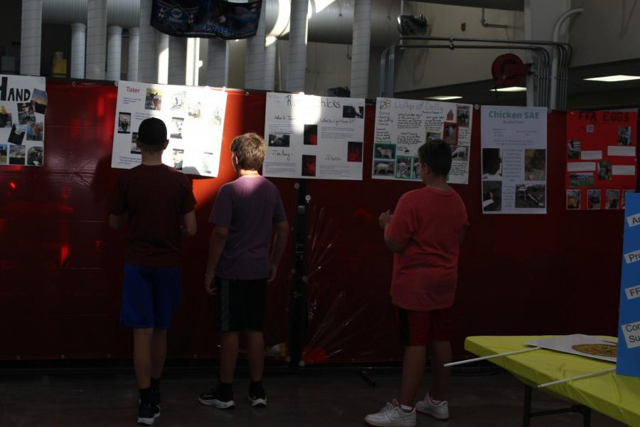 A group of boys looked over all the achievements of the Ag academy. The Ag shop but out posters to give everyone who attended information.