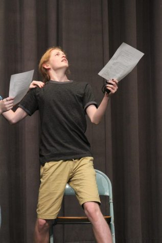During the auditions for the play, junior Lynn Morford acts out a scene.